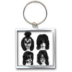 Kiss - Graphite Faces metal keychain