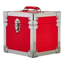 Vinyl Storage - 7 Inch 50 Record Storge Carry Case - RED