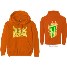 Billie Eilish - Billie Eilish Unisex Pullover Hoodie: Airbrush Flames Blohsh (Back Print)